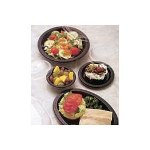 "Chinet Three Compartment Disposable 10.25"" Plastic Plates, Black, Case of 500"
