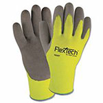 Wells Lamont FlexTech Hi-Visibility Knit Gloves with Nitrile Palm, Medium, Hi Vis Green/Gray