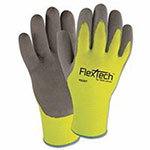 Wells Lamont FlexTech Hi-Visibility Knit Gloves with Nitrile Palm, Small, Hi Vis Green/Gray