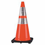 Cortina PVC Traffic Cone, 28 in, Orange/Silver