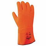 Showa SuperFlex Cotton Jersey Glove, Foam Ins., HiViz Orange, 12in Reinforced Gauntlet
