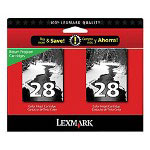 Lexmark 28 (18C1570) Black Ink Cartridges, 2/Pack