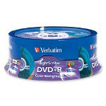 Verbatim LightScribe - 25 x DVD+R - 4.7 GB 16X - Blue, Yellow, Red, Green, Orange - LightScribe - Spindle - Storage Media