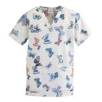 Medline ComfortEase Two-Pocket Scrub Top - 2Lower-Pkts, Butterfly, Large
