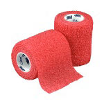 "Coban™ Self-Adhesive Wrap, Red, 3"" x 5 Yard Roll"