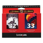 Lexmark 32/33 (18C0532) Black/Color Ink Cartridges, 2/Pack