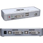 Tripp Lite 2-Port Compact DVI/USB KVM Switch w/Audio - KVM Switch - 2 Ports - 1 Local User