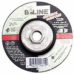 Bee Line Abrasives Depressed Center Grinding Wheel, 4 1/2in Dia, 1/4in Thick, 5/8-11in Arbor, 24 Grit
