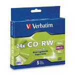 Verbatim 5 x CD-RW - 700 MB (80min) 24X - Slim Jewel Case - Storage Media