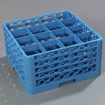 Carlisle Foodservice Products 16-Compartment Glass Rack with 4 Extenders, Blue