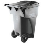 Rubbermaid Brute Roll-Out Plastic Wheeled Trash Can, 95 Gallon, Gray