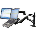 Ergotron LX Dual Desk Mount Arm - Mounting Kit (Articulating Arm, Support Tray, Desk Clamp Mount, Grommet Mount, Pole) For Flat Panel