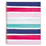 Cambridge Carousel Stripe Weekly/Monthly Planners, 8 1/2 x 11, Navy/Pink, 2019