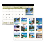 At-A-Glance Tropical Compact Monthly Desk Pad, 17 x 10 7/8, 2017