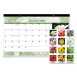 At-A-Glance Floral Compact Monthly Desk Pad, 17 x 10 7/8, 2017