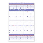 At-A-Glance 3 Months/Page Ruled Daily Blocks Wall Calendar, 15 1/2 x 22 3/4, Blue/Red Ink