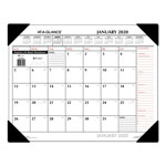 At-A-Glance Nonrefillable Two Color Monthly Vinyl Desk Pad Calendar, 22 x 17, Black Holder