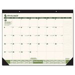 At-A-Glance Recycled Monthly Academic Calendar, 22 x 17, Black Headband/Corners, Green Print