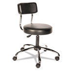 Alera HL Series Height-Adjustable Stool with Back, Black