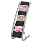 ALBA Literature Floor 6-Pocket Display Rack, 13-3/8w x 19-3/4d x 36-5/8h, BLK/Chrome