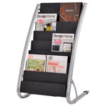 ALBA Literature Floor 8-Pocket Display Rack, 22-7/8w x 19-3/4d x 36-5/8h, BLK/Chrome