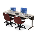 ABCO Office Furniture New Medley CCFLFT 24729 Fixed Height Workstation - Black Frame, Dove Gray