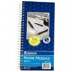 "Adams Business Forms Spiral Bound Phone Message Book, 11""x5 1/4"", 200 Sets/Book"