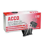 "Acco Binder Clips, 5/8"" Capacity, 1 1/4"" Wide"