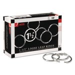 "Acco Metal Book Rings, 1 1/2"" Diameter, 100 Rings per Box"