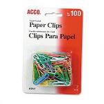 "Acco No. 2 (1 1/8"") Vinyl Coated Wire Paper Clips, Assorted Colors, 100 Clips/Card"