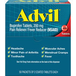 Advil® 2 Tablets per Pack, 50 Packs per Box
