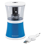 Acme iPoint USB/Battery Operated Pencil Sharpener, Blue/Clear