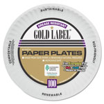 AJM Packaging Coated Paper Plates, 6 Inches, White, Round, 100/Pack