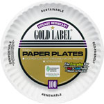 "AJM Packaging Gold Label Paper Plates, 9"", 100/PK, White"