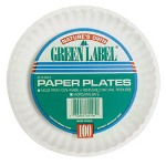 "AJM Packaging Disposable 6"" Paper Plates, White, 10 Bags of 100 Plates"