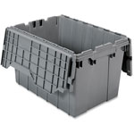 Akro-Mills Attached Lid Container, 12 Gal, Gray