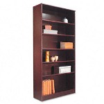 "Alera Premium Grade Veneer Bookcase, Six Shelf, 72"" High, Mahogany"