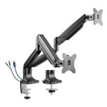 Alera ActivErgo Heavy-Duty Articulating Monitor Arm with USB, Dual Monitors, Black