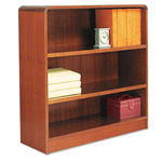"Alera Wood Veneer 3-Shelf Radius Corner Bookcase, Finished Back, 36"" x 12"" x 36, Cherry"