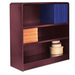"Alera Wood Veneer 3-Shelf Radius Corner Bookcase, Finished Back, 36"" x 12"" x 36, Mahogany"