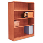 "Alera Wood Veneer 4-Shelf Radius Corner Bookcase, Finished Back, 36"" x 12"" x 48"", Medium Oak"