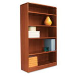 "Alera Wood Veneer 5-Shelf Radius Corner Bookcase, Finished Back, 36"" x 12"" x 60"", Cherry"