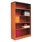 "Alera Wood Veneer 5-Shelf Radius Corner Bookcase, Finished Back,36"" x 12"" x 60"", Medium Oak"