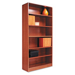 "Alera Wood Veneer 6-Shelf Radius Corner Bookcase, Finished Back, 36"" x 12"" x 72"", Medium Oak"