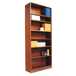 "Alera Wood Veneer 7-Shelf Radius Corner Bookcase, Finished Back, 36"" x 12"" x 84"", Cherry"
