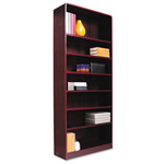 "Alera Wood Veneer 7-Shelf Radius Corner Bookcase, Finished Back, 36"" x 12"" x 84"", Mahogany"