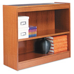 "Alera Wood Veneer 2-Shelf Square Corner Bookcase, Finished Back, 36"" x 12"" x 30"", Medium Oak"
