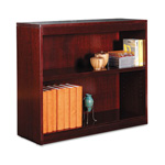 "Alera Wood Veneer 2-Shelf Square Corner Bookcase, Finished Back, 36"" x 12"" x 30"", Mahogany"