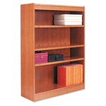"Alera Wood Veneer 4-Shelf Square Corner Bookcase, Finished Back, 36"" x 12"" x 48"", Medium Oak"