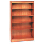 "Alera Wood Veneer 5-Shelf Square Corner Bookcase, Finished Back, 36"" x 12"" x 60"", Medium Oak"